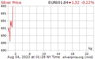1 giorno in argento prezzo per chilogrammo in euro europeo