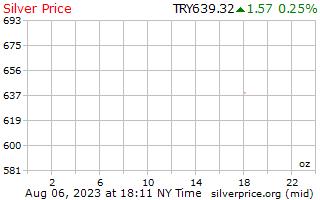 1 天銀價格每盎司在土耳其里拉