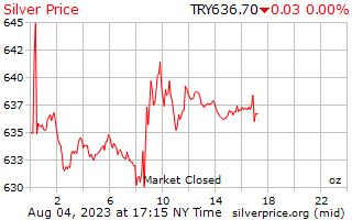 1 天银价格每盎司在土耳其里拉